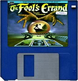 Cartridge artwork for Fool's Errand on the Commodore Amiga.