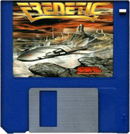 Cartridge artwork for Frenetic on the Commodore Amiga.
