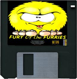Cartridge artwork for Fury of the Furries on the Commodore Amiga.