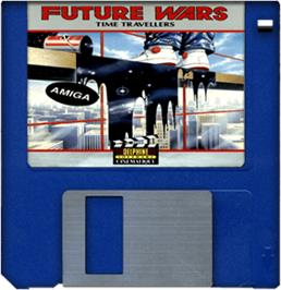 Cartridge artwork for Future Wars on the Commodore Amiga.