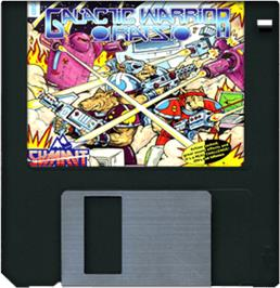 Cartridge artwork for Galactic Warrior Rats on the Commodore Amiga.