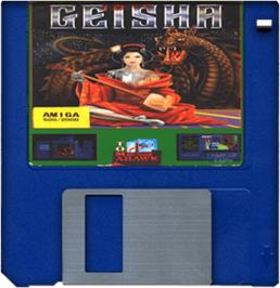 Cartridge artwork for Geisha on the Commodore Amiga.