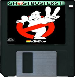 Cartridge artwork for Ghostbusters 2 on the Commodore Amiga.