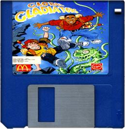Cartridge artwork for Global Gladiators on the Commodore Amiga.