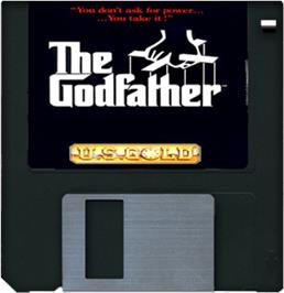 Cartridge artwork for Godfather: The Action Game on the Commodore Amiga.