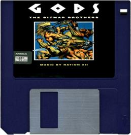 Cartridge artwork for Gods on the Commodore Amiga.
