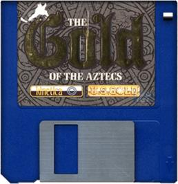 Cartridge artwork for Gold of the Aztecs on the Commodore Amiga.