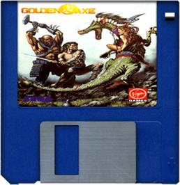 Cartridge artwork for Golden Axe on the Commodore Amiga.