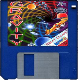 Cartridge artwork for Gravity on the Commodore Amiga.