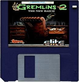 Cartridge artwork for Gremlins 2: The New Batch on the Commodore Amiga.