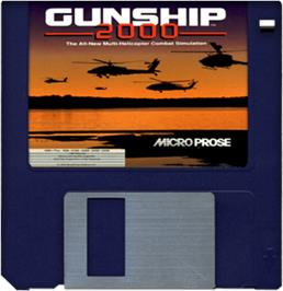 Cartridge artwork for Gunship 2000 on the Commodore Amiga.