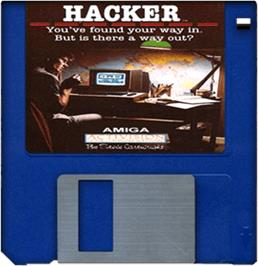 Cartridge artwork for Hacker on the Commodore Amiga.