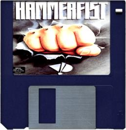 Cartridge artwork for Hammerfist on the Commodore Amiga.