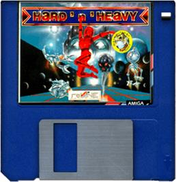 Cartridge artwork for Hard 'n Heavy on the Commodore Amiga.