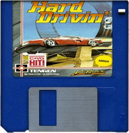 Cartridge artwork for Hard Drivin' on the Commodore Amiga.