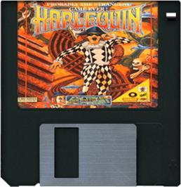 Cartridge artwork for Harlequin on the Commodore Amiga.