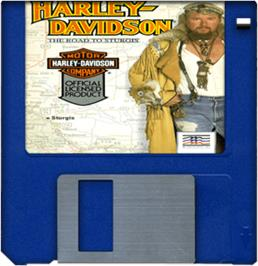 Cartridge artwork for Harley-Davidson: The Road to Sturgis on the Commodore Amiga.
