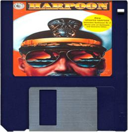 Cartridge artwork for Harpoon & Battleset 2 on the Commodore Amiga.