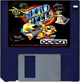 Cartridge artwork for Head Over Heels on the Commodore Amiga.