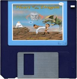 Cartridge artwork for Heart of the Dragon on the Commodore Amiga.