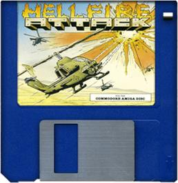 Cartridge artwork for Hellfire Attack on the Commodore Amiga.