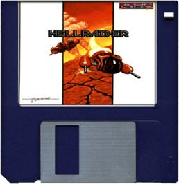 Cartridge artwork for Hellraider on the Commodore Amiga.