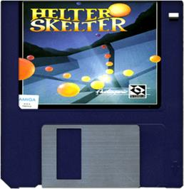 Cartridge artwork for Helter Skelter on the Commodore Amiga.