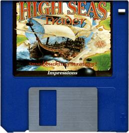 Cartridge artwork for High Seas Trader on the Commodore Amiga.