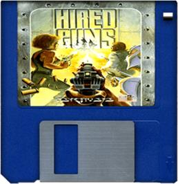 Cartridge artwork for Hired Guns on the Commodore Amiga.