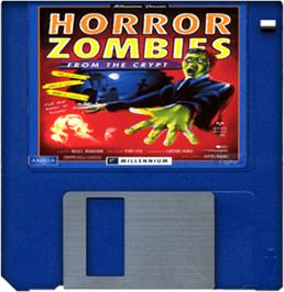 Cartridge artwork for Horror Zombies from the Crypt on the Commodore Amiga.