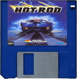 Cartridge artwork for Hot Rod on the Commodore Amiga.