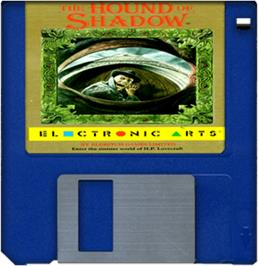 Cartridge artwork for Hound of Shadow on the Commodore Amiga.
