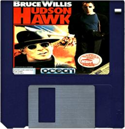 Cartridge artwork for Hudson Hawk on the Commodore Amiga.
