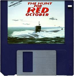Cartridge artwork for Hunt for Red October on the Commodore Amiga.