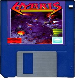 Cartridge artwork for Hybris on the Commodore Amiga.