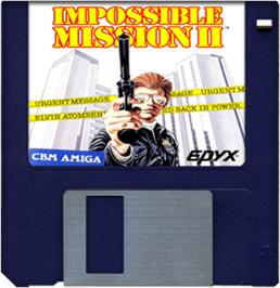 Cartridge artwork for Impossible Mission 2 on the Commodore Amiga.