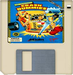 Cartridge artwork for Incredible Crash Dummies on the Commodore Amiga.