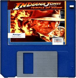 Cartridge artwork for Indiana Jones and the Temple of Doom on the Commodore Amiga.