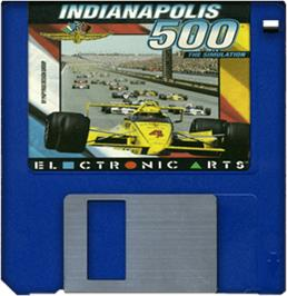 Cartridge artwork for Indianapolis 500: The Simulation on the Commodore Amiga.
