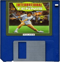 Cartridge artwork for International 3D Tennis on the Commodore Amiga.