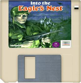 Cartridge artwork for Into the Eagle's Nest on the Commodore Amiga.