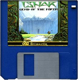Cartridge artwork for Ishar: Legend of the Fortress on the Commodore Amiga.