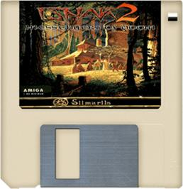Cartridge artwork for Ishar 2: Messengers of Doom on the Commodore Amiga.