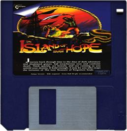 Cartridge artwork for Island of Lost Hope on the Commodore Amiga.