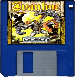 Cartridge artwork for Ivanhoe on the Commodore Amiga.