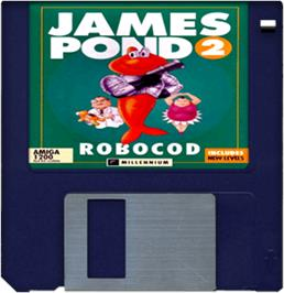 Cartridge artwork for James Pond 2: Codename: RoboCod on the Commodore Amiga.