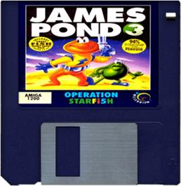 Cartridge artwork for James Pond 3: Operation Starfish on the Commodore Amiga.