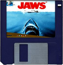 Cartridge artwork for Jaws on the Commodore Amiga.