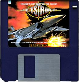 Cartridge artwork for Jet Strike on the Commodore Amiga.