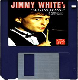 Cartridge artwork for Jimmy White's Whirlwind Snooker on the Commodore Amiga.
